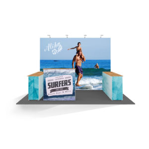 Pop up Stand portatil con forma de U y laterales abiertos 4x3, con mostrador